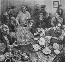 """《春茶》纸本素描 2010年 入选2010年""""首届广东大学生美术作品双年展""""获金奖,并被组委会收藏"""