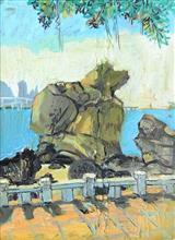 10 坤坤作品《鼓浪屿鹿礁路骆驼石》30x40cm 布面油画 2018年