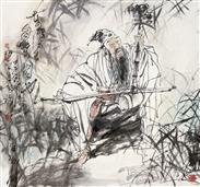 《东坡先生自乐图》68x68cm 写意人物 高士图 纸本设色 2014年
