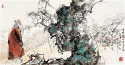 《高隐图》136x68cm 写意人物 高士图 纸本设色 2012年