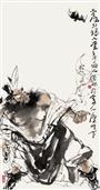 《老馗引福入堂》100x50cm 写意人物 高士图 纸本设色 2011年
