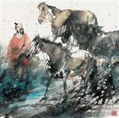 《露清晓风冷》68x68cm 写意人物 高士图 纸本设色 2010年