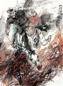 《秋野狩猎图》93x68cm 写意人物 高士图 纸本设色 2014年