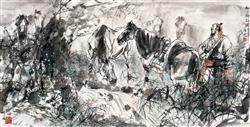 《松月牧放图》68x136cm 写意人物 高士图 纸本设色 2013年
