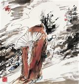 《迎福图》68x68cm 写意人物 高士图 纸本设色 2013年