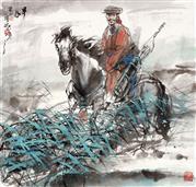 《早春》68x68cm 写意人物 高士图 纸本设色 2013年