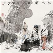 《知己图》68x68cm 写意人物 高士图 纸本设色 2010年