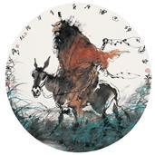 《终南进士神巡图》直径68cm 写意人物 高士图 纸本设色 团扇小品 2010年