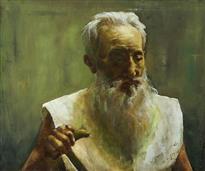 《老人肖像写生》50x60cm 油彩 亚麻布 1999年11月