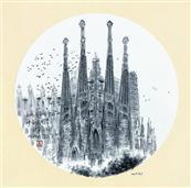 《西班牙·巴塞罗那·神圣(圣家族)大教堂》33×33cm 纸本水墨 团扇 写意欧洲风情 2018年08月06日.JPG