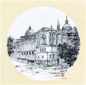 《西班牙·巴塞罗那·加泰罗尼亚国际艺术博物馆(局部)》33×33cm 纸本水墨 团扇 写意欧洲风情 2018年08月05日.JPG