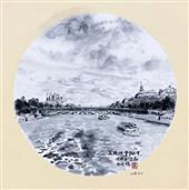 《法国·巴黎·美丽的塞纳河》33×33cm 纸本水墨 团扇 写意欧洲风情 2018年08月11日.JPG