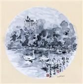 《德国·慕尼黑(富森)·新天鹅堡(白雪公主城堡)》33×33cm 纸本水墨 团扇 写意欧洲风情 2018年08月14日.JPG