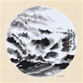 《奥地利·人间天堂·神秘的阿尔卑斯山》33×33cm 纸本水墨 团扇 写意欧洲风情 2018年08月15日.JPG