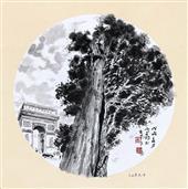 《意大利·美第齐·里卡迪宫的柏树》33×33cm 纸本水墨 团扇 写意欧洲风情 2018年08月17日.JPG