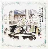 《有啤酒的餐桌》40×40cm 餐巾纸画 写意欧洲风情 2018年8月.JPG