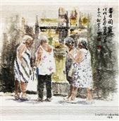 《昔日闺蜜》40×40cm 餐巾纸画 写意欧洲风情 2018年8月.JPG