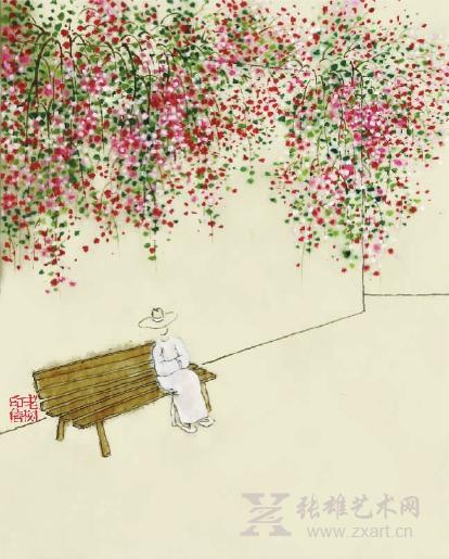 梅花树下的女孩手绘